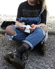 """Tattoo choker necklace with """"Led Zeppelin"""" graphic printed tee, ripped denim overalls, tights & Dr Martens boots by plumpyprincess"""