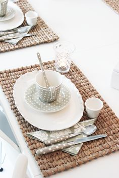 Cute polka dot place setting - clean and fun neutral palette