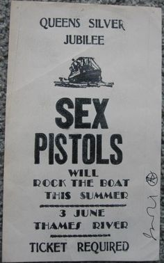 Original 1977 Boat Flyer Queens Jubilee signed by Jamie Reid