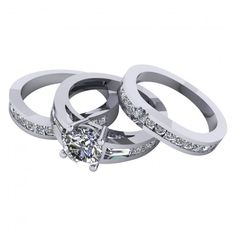 3.60Ct Round Cut Trio Wedding Set With 2 Matching Wedding Bands Available In 14K, 18K and Platinum. Agape Diamonds. Man made diamonds. Wedding. Engagement ring. Wedding ring. Bridal. Gold. Platinum. Diamond. Simulated diamond.