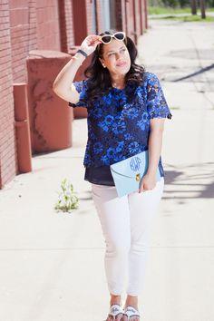 Detroit Debutante Blue Lace Tahari Top White Jeans Yellow Sunglasses Draper James Jack Rogers Sandals Monogrammed Clutch Fashion