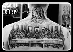 What does last supper tattoo mean? We have last supper tattoo ideas, designs, symbolism and we explain the meaning behind the tattoo. The Last Supper Tattoo, Back Tattoo, I Tattoo, Dream Tattoos, Tatoos, Hispanic Art, Chola Style, Angel Tattoo Designs, Sleeve Tattoos