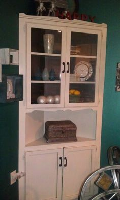 Refinished corner hutch from old farmhouse. I woud love to have something like this in my current kitchen!