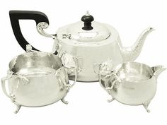 Sterling Silver Three Piece Tea Service – Art Nouveau Style - Antique George V  SKU: A2511 Price  GBP £1,395.00  http://www.acsilver.co.uk/shop/pc/Sterling-Silver-Three-Piece-Tea-Service-Art-Nouveau-Style-Antique-George-V-96p4009.htm#.VjnwzSs8rfc