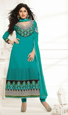 Create an enigmatic aura around wherever you go dolled up in this greenish blue georgette embroidered churidar suit. The ethnic lace, patch, resham and stones work within apparel adds a sign of beauty statement with a look. Georgette Dresses, Churidar Suits, Stone Work, Straight Cut, Dress Collection, Ethnic, Stones, Fancy, Sign