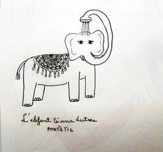L'elefant té una dutxa portàtil