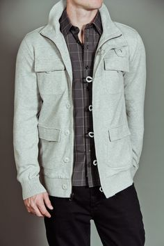 Civil Society Baker: Men's Patch Jacket Sweater Heather Grey