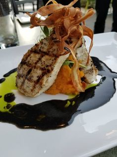 Atlantic Swordfish with roasted butternut squash, crispy parsnip  and plum yuzu black butter. Recipe by Chef Joseph Thomas Parsons.   Order Swordfish for 24 hour free home delivery here - FloridaSeafood.com #Swordfish #Delivery #HomeCooked