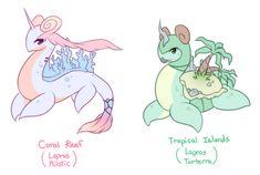 raidraws:  more breed variations! Lapras with other pokemon