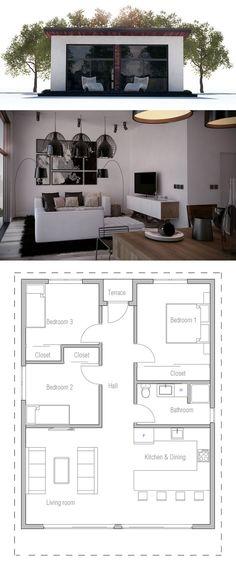 Plano de una pequeña casa de uma planta.