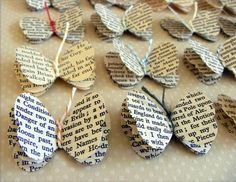 These gorgeous little butterflies have been handpunched from vintage books. Each butterfly has 3 layers which are held together with coloured twine that forms the body and antennae.