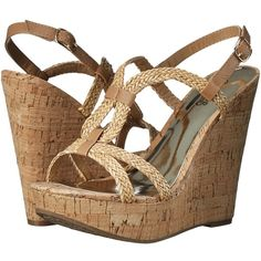 CARLOS by Carlos Santana Barby Women's Wedge Shoes ($59) ❤ liked on Polyvore featuring shoes, sandals, woven sandals, braided t-strap sandals, platform wedge shoes, t strap wedge sandals and platform shoes