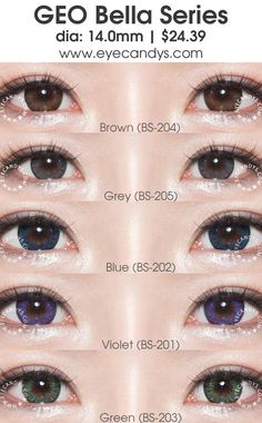GEO Bella series circle lens (colored contact lenses) - GEO Bella colour contacts consist of a soft enlarging limbal ring encircling a playful splash of color that naturally blends into your iris. Shop authentic GEO lenses with Free Worldwide Shipping! http://www.eyecandys.com/bella-series-14-0mm/