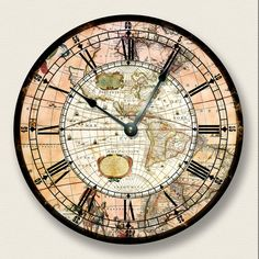 AMERICAS MAP wall CLOCK  vintage print  antique by FancyThisBaby