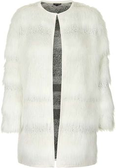 $150, White Fur Coat: Topshop Faux Fur Stripe Coat. Sold by Topshop. Click for more info: https://lookastic.com/women/shop_items/332943/redirect
