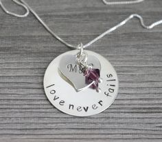 Love Necklace, Name Necklace, Anniversary Necklace, Wedding Date Necklace, Name Pendant, Personalized Sterling Silver Pendant
