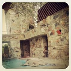 View of the kiva pool at #TaliesinWest #Desert Masonry