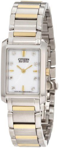 Citizen Women's EX1074-59A Eco-Drive Palidoro Watch Citizen. $262.50. Mineral glass crystal. Diamond accented dial. Water-resistant to 30 M (99 feet). Stainless steel two tone. Eco-drive