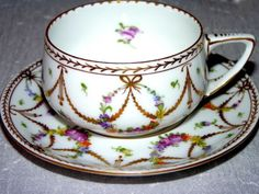 Antique Dresden Germany Richly Gilded Gold Floral Teacup and Saucer