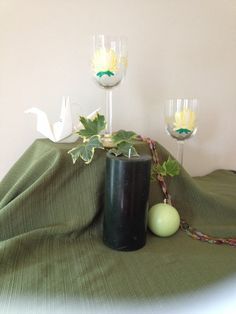 Painted Lotus Wine Glasses by emyliastone on Etsy, $45.00