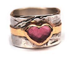 Do-you-love-me-Ring by Nadine Kieft for http://www.goldfabrik.nl Made of silver, fairtrade & fairmined gold and a heart shape rose cut pink tourmaline.
