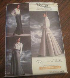Vogue 1934 Oscar de la Renta Pleated Long Skirt Sewing Pattern Sizes 12-14-16 Formal Steampunk