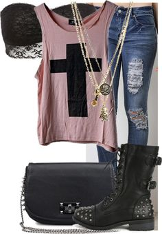 rocker chic in studded outfit