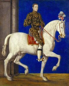 Equestrian portrait of Dauphin Henry,the future Henry II of France by François Clouet, c. 1543