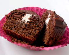 Chocolate Beet Cupcakes with Ganache and Marshmallow Filling