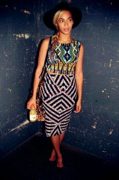 beyonce wearing african print crop top and skirt