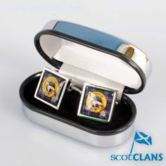 Hunter Clan Crest and Tartan Cufflinks