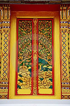Gold Carve Door Temple Thailand Royalty Free Stock Image - Image: 14169126