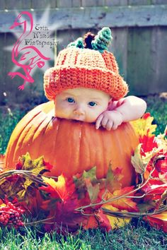 Crochet Pumpkin Hat Photo Props Fall Photography. $18.00, via Etsy.