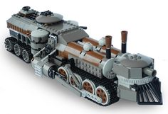 this lego train looks like something you would see in a fantisey movie, isn't it cool? Steampunk Lego, Lego Universe, Lego Pictures, Lego Robot, Lego Mechs, Lego Trains, Lego Military, All Lego, Lego Worlds