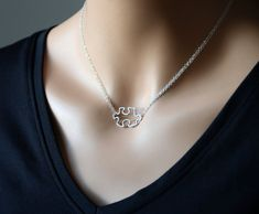 All Sterling Silver JIgsaw Puzzle necklace, double chain. awarness sterling jewelry