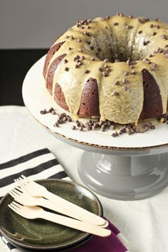 Double Chocolate Bundt Cake with Biscoff Glaze - Cookie Monster Cooking