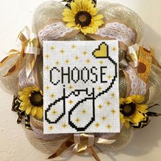 Choose Joy deco mesh wreath made with perler beads, burlap and sunflowers to brighten your day or celebrate spring by AmeliasWreathsofJoy on Etsy https://www.etsy.com/listing/270144455/choose-joy-deco-mesh-wreath-made-with