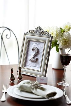 DIY Wedding Table Number in #silver // For step by step instructions visit - http://www.modernwedding.com.au/diy-wedding-table-numbers/