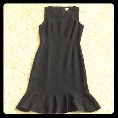 "Ann  Taylor dress Beautiful black dress with gorgeous clean lines, scalloped flowy bottom. 100% Silk shell. Size 0 petite, 35"" length. Ann Taylor Dresses Midi"