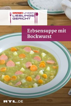 soup with bockwurst - the point 12 favorite dish - A hearty pea soup – just the thing after a long walk in the fresh air! -Pea soup with bockwurst - the point 12 favorite dish - A hearty pea soup – just the thing after a long walk in the fresh air! Stew Meat Recipes, Meat Recipes For Dinner, Hamburger Meat Recipes, Meatloaf Recipes, Seafood Recipes, Crockpot Recipes, Chicken Recipes, Italian Recipes, Mexican Food Recipes