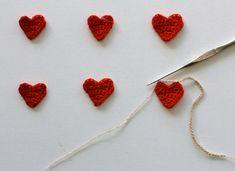 crochet heart garland - tiny!