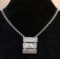 Bar Necklace Silver Beach Necklace by AriesArtisticJewelry Metal Clay Jewelry, Metal Necklaces, Fine Jewelry, Unique Jewelry, Jewelry Design, Handmade Silver, Handmade Jewelry, Silver Bar Necklace, Ocean Jewelry