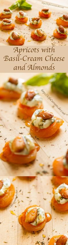 Apricots with basil cream cheese and almonds - currents from .- Aprikosen mit Basilikumfrischkäse und Mandeln – Strömungen des Lebens Apricots with basil cream cheese and almonds – currents of life, # Basil cream cheese - Healthy Party Snacks, Healthy Finger Foods, Easy Snacks, Easy Meals, Healthy Eating, Appetizers For Party, Appetizer Recipes, Tapas Recipes, Cheese Recipes
