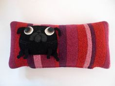 "pug pillow ""pugs and stripes"" black on reds and pinks. $72.00, via Etsy."