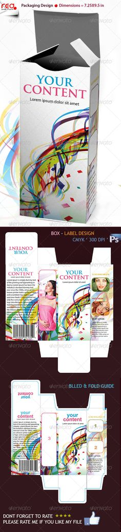 3D Box #Template #Design - Miscellaneous Print #Templates Download here:  https://graphicriver.net/item/3d-box-template-design/231710?ref=alena994