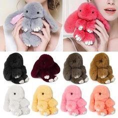 Lady Large Bunny Fur Tail Keychain Bag Tag Charm Handbag Pendant Accessory | Keyrings | Women's Accessories - Zeppy.io