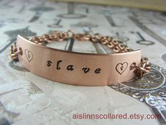 Slave Handstamped Copper Chainmaille Bracelet by aislinnscollared