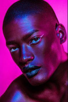 Colour Gel Photography, Headshot Photography, Art Photography, Black Pics, Male Makeup, Portrait Lighting, Color Studies, Photo Reference, Black Is Beautiful