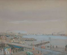 Bartele 'Bart' Peizel (1887-1974) A view of the Amsterdam harbor, watercolour on painter's board. Collection Simonis & Buunk, The Netherlands