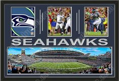 Three framed 8 x 10 inch Seattle Seahawks photos of Russell Wilson with a large Seattle Seahawks stadium panoramic, double matted in team colors to 36 x 24 inches.  The lines and SEAHAWKS* are cut into the top mat and show the bottom mat color.  The stadium view may be cropped to fit.  $199.99 @ ArtandMore.com Sports Art, Nfl Sports, Seattle Seahawks Stadium, Nfl Merchandise, Nfl Stadiums, Russell Wilson, Alphabet Art, Collage Frames, Custom Framing